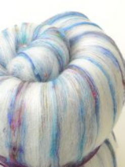 Scrumptious Textured batt with Sari Silk (Batt 180570)