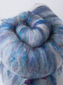 Textured Large Batt with Sari Silk (Batt 190713)