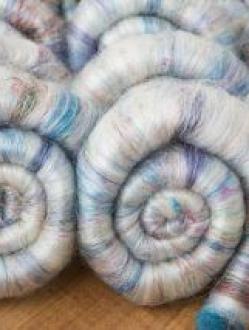 Beautiful Rolags Blended with Sari Silk (Batt 190745)