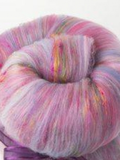 Playful Large Textured Batt with Sari Silk (Batt 190769)