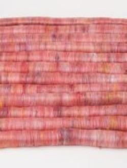 Beautiful Red Heathered Rolag Set with Sari Silk (Batt 200784)
