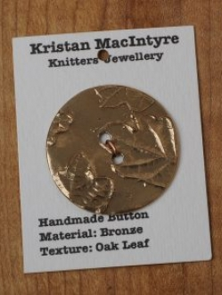 Large Hand Crafted Bronze Button