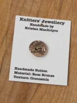 Small Hand Crafted Rose Bronze Button