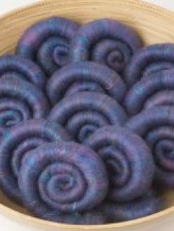 Deep Blue and Purple Heathered Rolag Set with Sari Silk (Batt 200787)