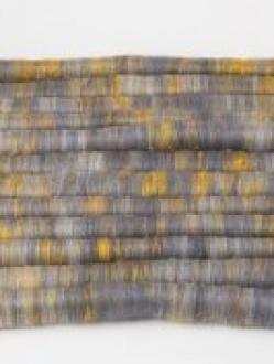 Delicious Heathered Grey with Golden Sari Silk Rolag Set (Batt 200789)