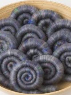 Lovely Grey Heathered Rolag Set with Sari Silk (Batt 200790)
