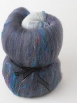Beautiful Large Gradient Batt with Sari Silk (Batt 200791)